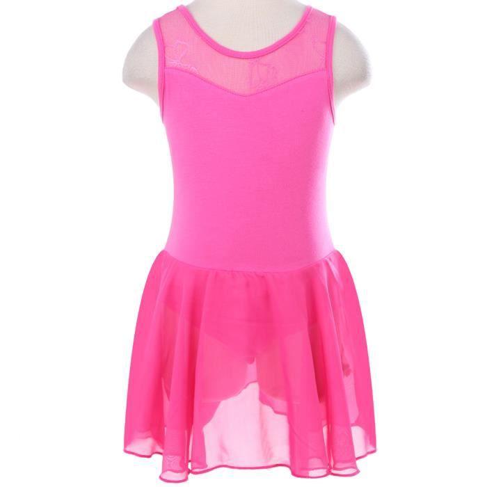 TFJH Justaucorps Danse Classique Fille Enfant Tutu Ballet Robe Dentelles Sans  Manches Jupe Leotard Gym Mousseline Dancewear 3-12 Ans 4153a7d72b5a