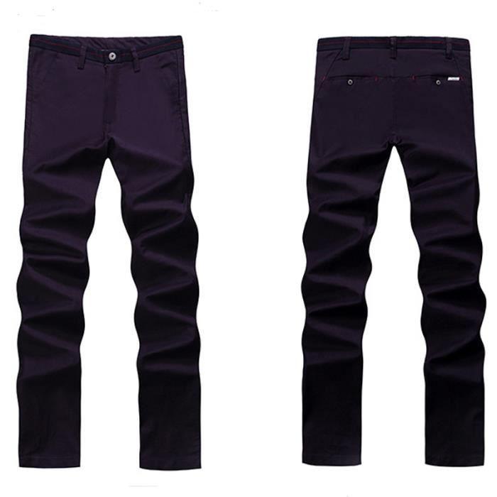 6871b5326321 Pantalon Homme coton Costume Coton style Sans Ceinture,pourpre,46 ...