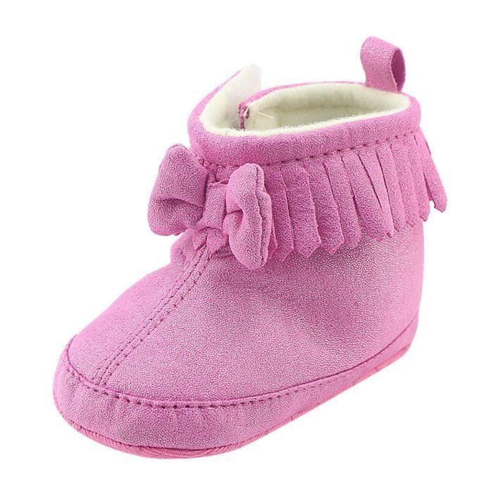 Enfant nouveau-né bébé garçon fille berceau bowknot bottes prémarcher chaud Martin chaussures Rose QEWf9h
