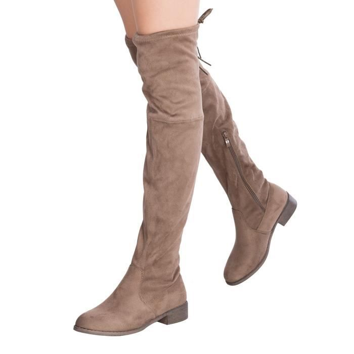 Sexy Over The Knee Thigh High Faux Suede And Leather Low Heel Boots WZX1Y Taille-40