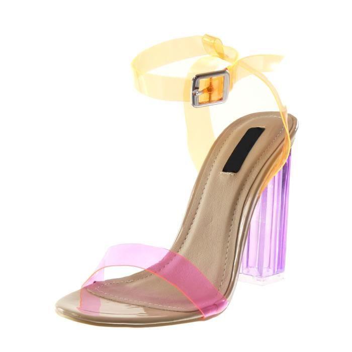 Angkorly - Chaussure Mode Escarpin Sandale lanière cheville femme lanière transparent flashy Talon haut bloc 12 CM - Orange - B7816