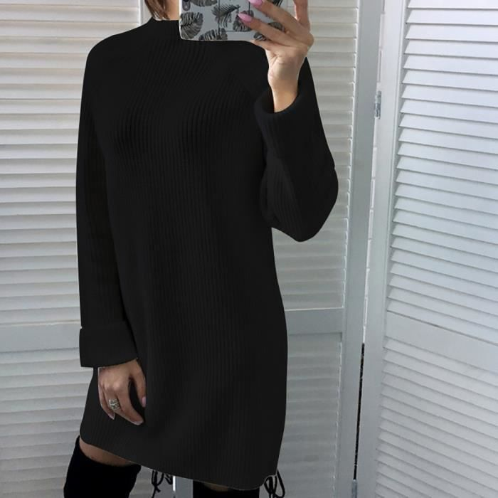 Manches Womens O Jumper Pulls Neck Longues Casual Noir Robe fwwCHxq1