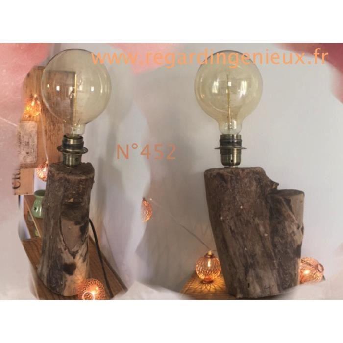 Lampe En Bois Flotte N 452 Avec Grande Ampoule Edison Retro Edison