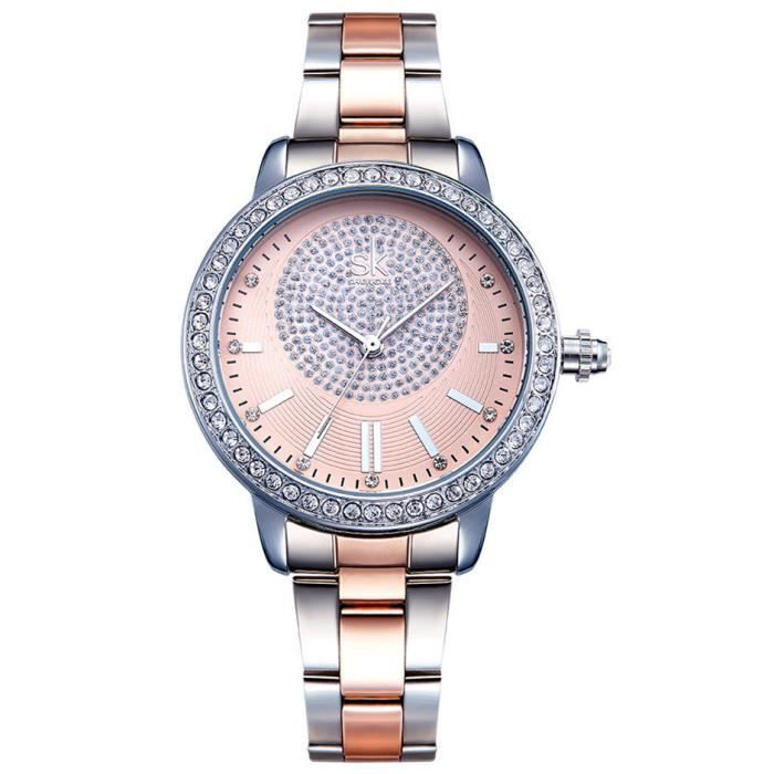 SHARPHY® Montre Femme Marque de Luxe Diamant motif Fleurs Bracelet en Acier, trés jolie élégante