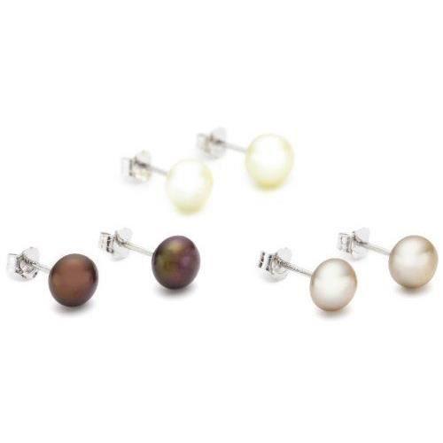 . Valero. Pearls.60200124-. Set de 3. Paires de. Boucles doreilles. Femme. Argent 925/1000-. Perles de culture deau douce.…