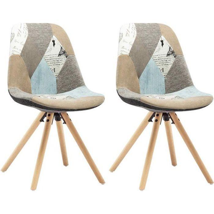 44x39x81cm Salon Woltu Lin Manger siège Lot Cuisine chaise pieds En 2 Salle De Chaise Massif patchwork À Bois zqUSVpM