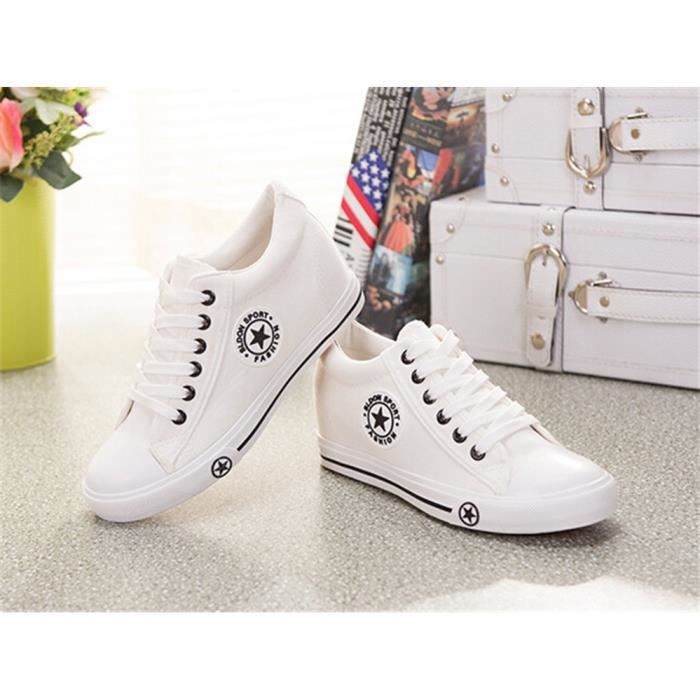 Toile Chaussures Femmes Mode Solide Lacer Blanc