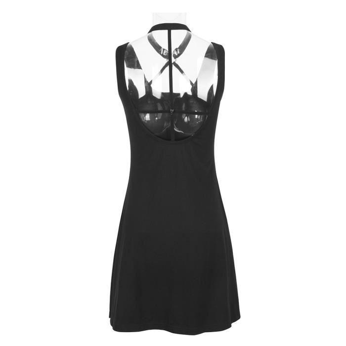 Robe noire courte décolleté effet harnais, croix inversée au dos, punk casual goth PQ