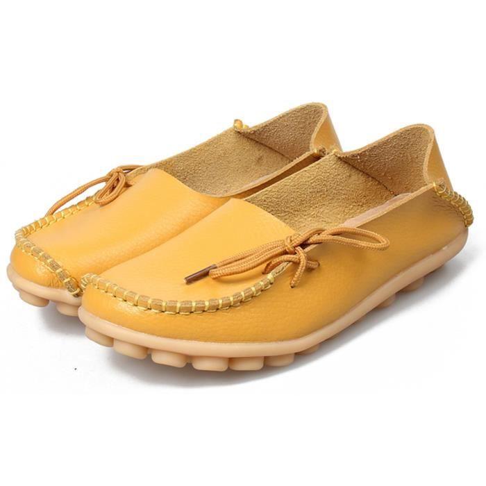 Chaussures de conduite à lacets en cuir de vachette Mocassins Chaussures bateau Flats R389C Taille-36 1-2