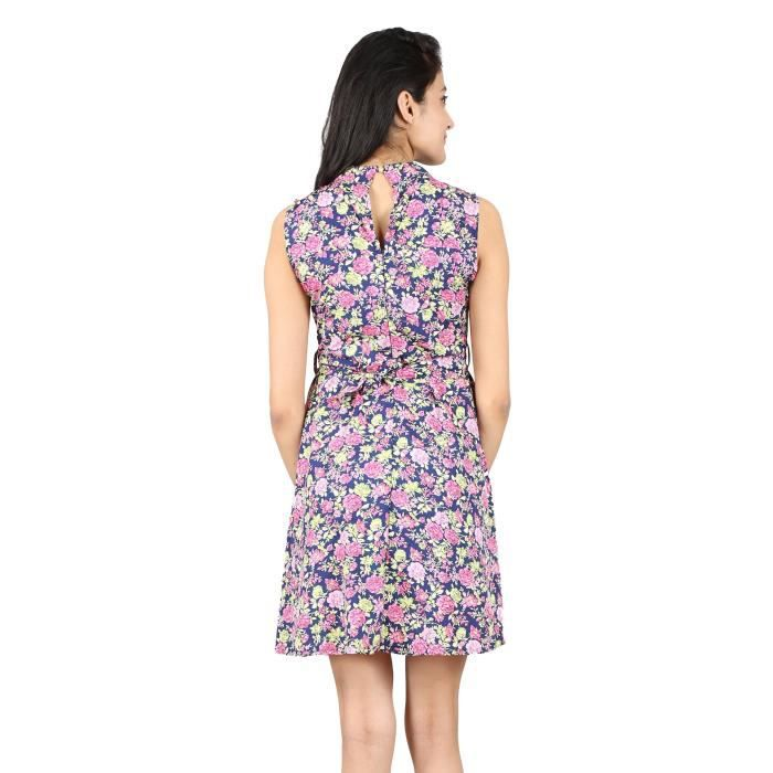 Womens Multicolor Floral Printed Crepe Dress 1FXFK3 Taille-38