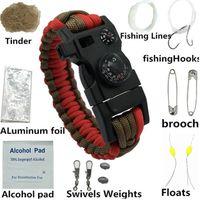 chaussures pour pas cher bien design élégant 6495@ Bracelet de survie avec montre Compass Flint Allume-feu Scraper  vitesse Whistle 335