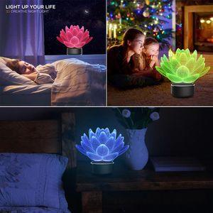 LAMPE A POSER Lotus Night 3D Table lumineuse Lampe de bureau 7 C