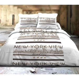 parure housse de couette new york achat vente pas cher. Black Bedroom Furniture Sets. Home Design Ideas