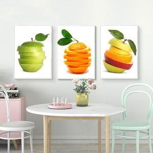 OBJET DÉCORATION MURALE 3 Piece Abstrait Art en toile Fruits Toile Peintur