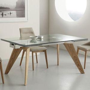 table a manger verre et bois achat vente pas cher. Black Bedroom Furniture Sets. Home Design Ideas
