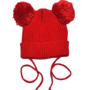 Bébé Enfant Chaud Hiver Bonnet Chapeau Pompon Crochet Rouge TU ... 852e4756896