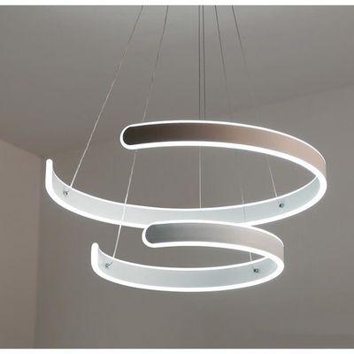 Led Suspensions 2 C Forme Argente Design Pour Table A Manger Lampe De Bureau En Acrylique Et Aluminium Salon Cuisine Dimmable Avec
