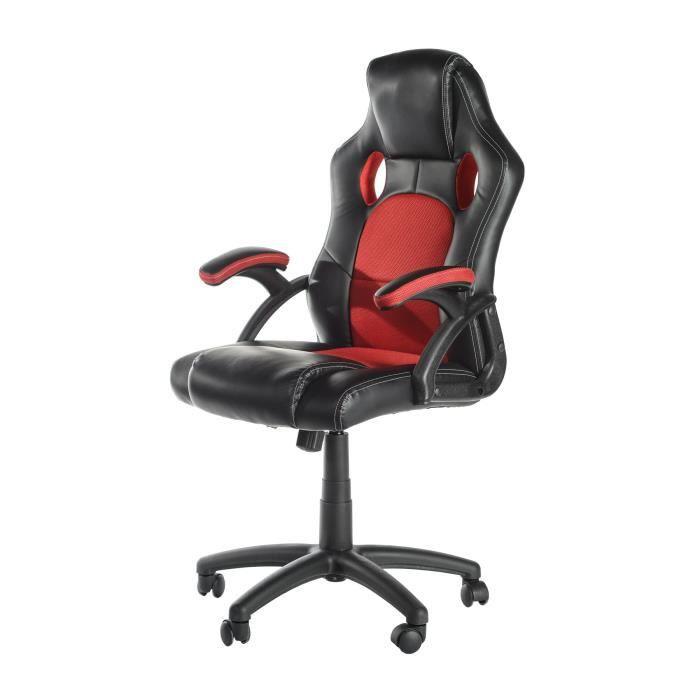 REDTURN Fauteuil de bureau - Simili noir et rouge - Gaming - L 66 x P 63 cm