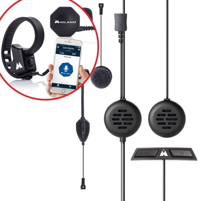 MIDLAND Intercom de 2 personnes 200 mètres avec alerte vocale pour casque Intégral + Boutton sans fil Push to talk