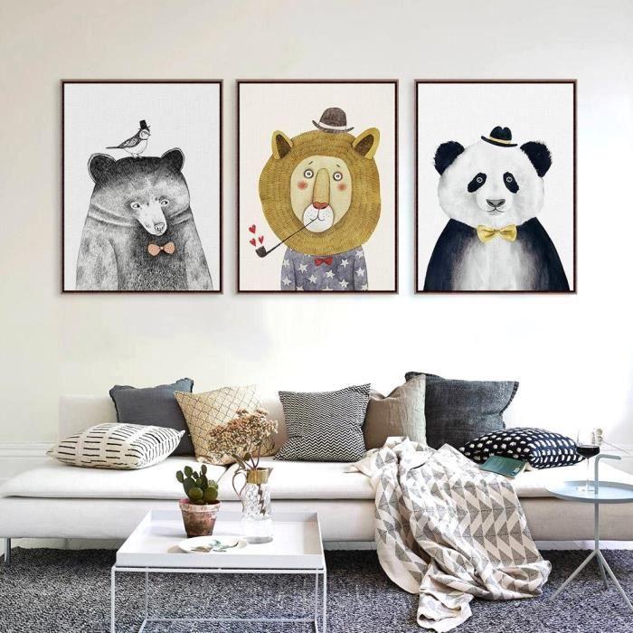 Dessin Animé Du0027animal Moderne Images De Mur De Peinture De Toile Enfants  Décoration De Pièce Aucun Cadre 3 Morceaux
