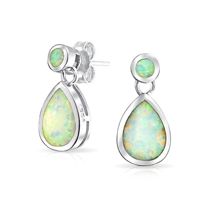 Bling Jewelry White Opal synthétiques Octobre Teardrop Boucles dargent 925 Pierre