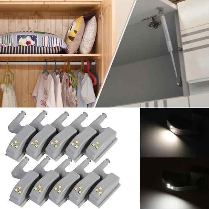 Blanc Armoires Lumiere Froid Pour Cuisine 10pcs Lampe Led Cabinet Capteur Placard gI6vYb7fy