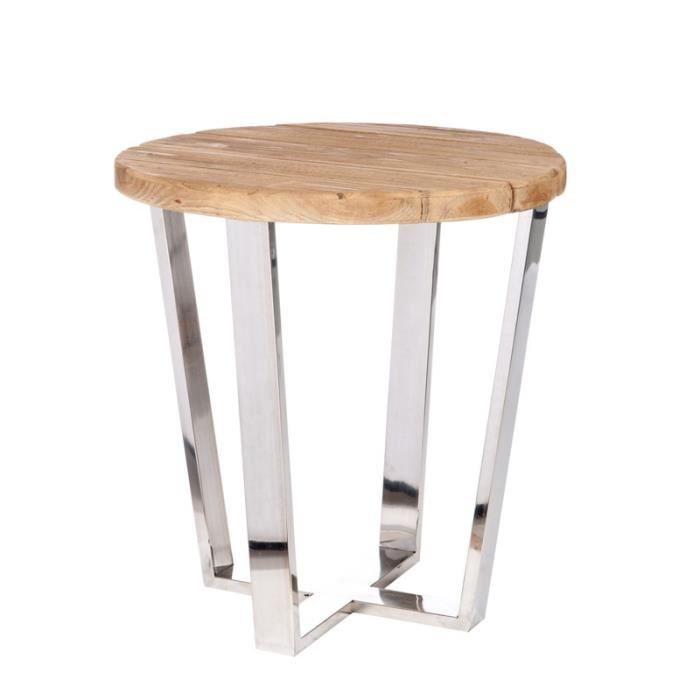 Sellette bois naturel et métal brillant - BENY - Achat / Vente table ...