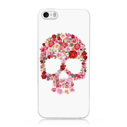 coque silicone iphone 5 5s tete mort 37 fleur rose shabby chic