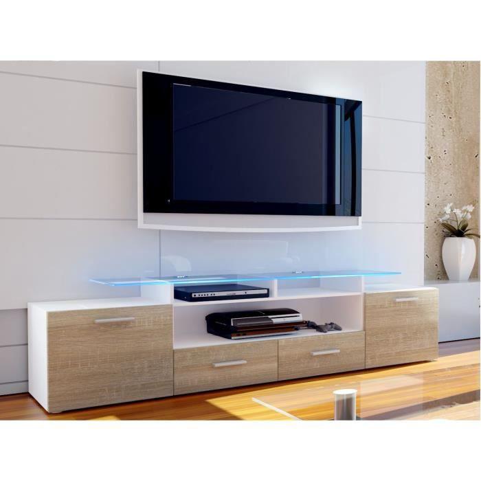 meuble tv blanc et bois brut 194 cm achat vente meuble. Black Bedroom Furniture Sets. Home Design Ideas