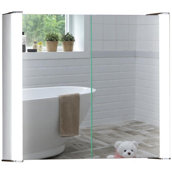 Armoire de toilette pour salle de bain, miroir lumineux, antibuée, prise  pour rasoir, détecteur de mouvement et éclairage 60x65x16cm