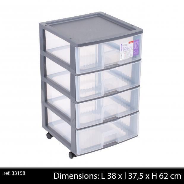 Box de Rangement Plastique Polypropylène 4 Tiroirs - Bloc 4 Tiroirs à Roulettes - Achat / Vente ...