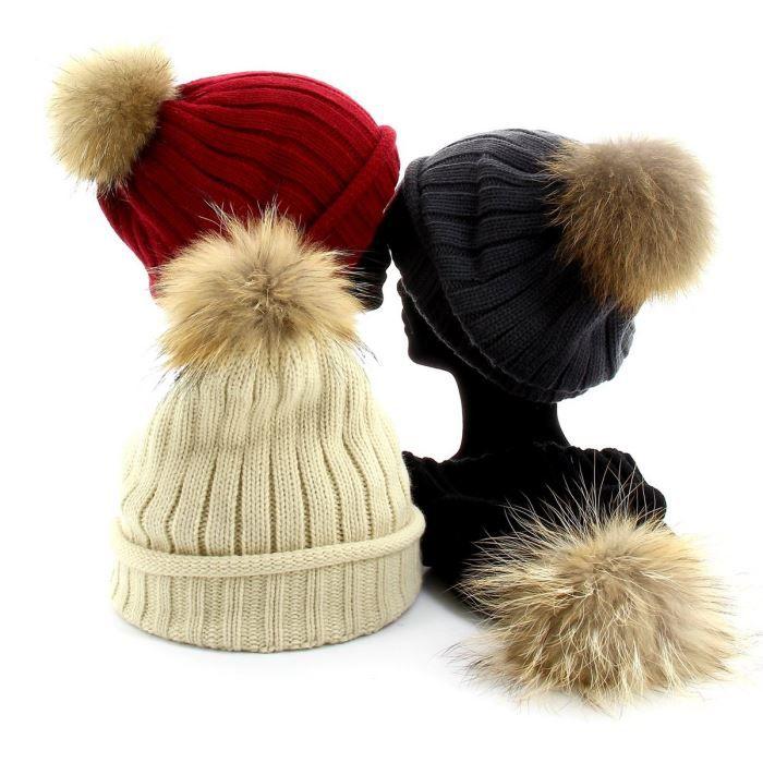 Bonnet - MEGEVE - Pompon Fourrure Marmotte - Fe… - Achat   Vente ... 267053335bd