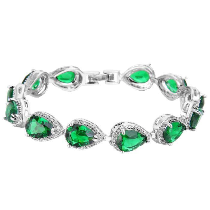 Ever Faith-Cubic Zirconium Larmes Bracelet Couleur de Emeraude Plaqué Argent Femme N02872-9