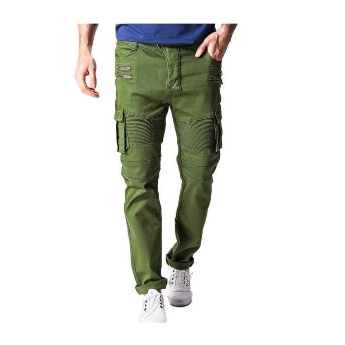 Pants Elastique Cargo avec Jeans Tapered Poches Homme Chino Pantalon Chic waXnW1qXZP