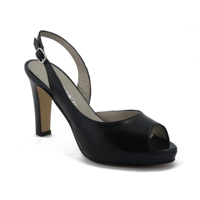 OSVALDO PERICOLI-Sandale en cuir Nappa noir, chaussure avec talon 9cm. et la plate-forme 1.5, véritable semelle en cuir, 139T80