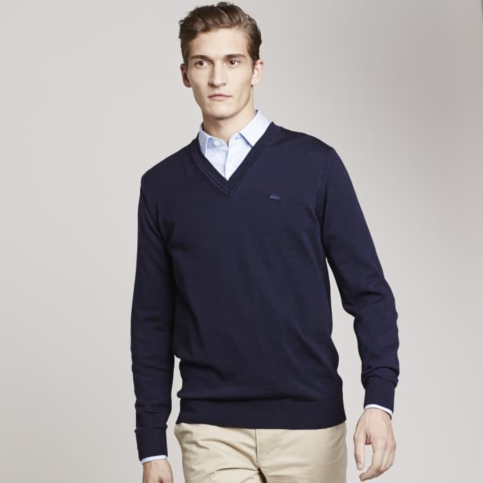 1c20759009 PULL LACOSTE HOMME Bleu BLEU MARINE - Achat / Vente pull - Cdiscount