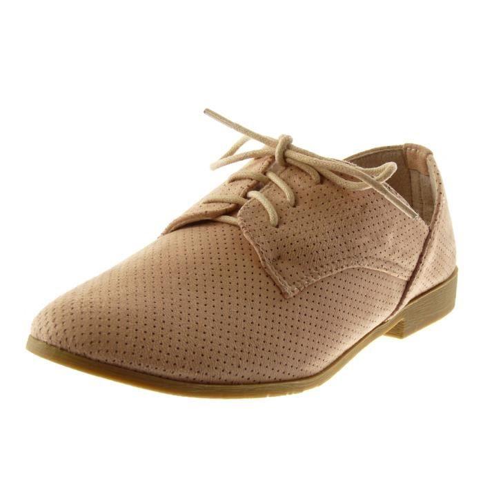 fee32cf703f72a ... Talon bloc 2 CM - Rose - 333-9 T 37. DERBY Angkorly - Chaussure Mode  Derbies femme perforée T