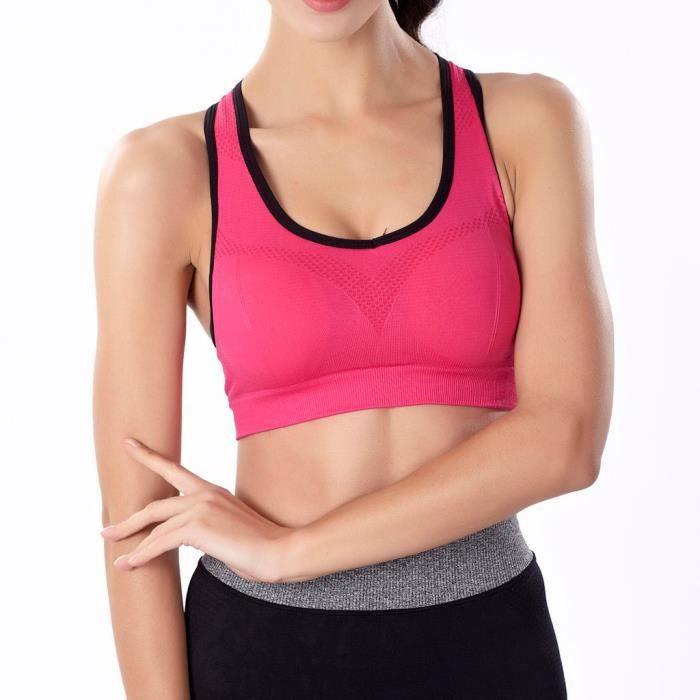 vêtements Anti Fitness La Sport Yoga Sous De Sans Femme Soutien Course Tops gorge Rouge choc Anneau BodCxe