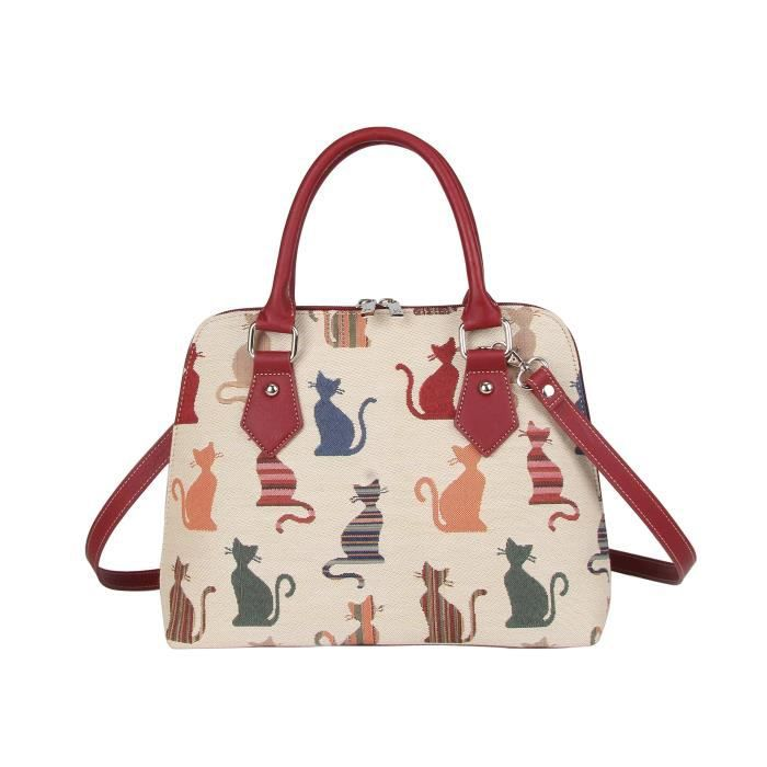 Signare Femmes Mode Toile Tapestry Sac à main épaule Convertible En Cheeky Design Chat I0BE1