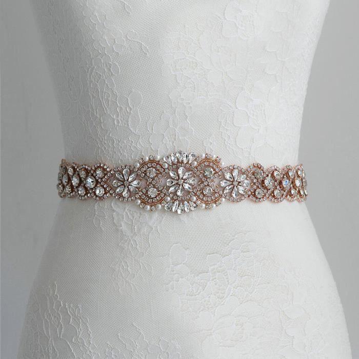 TEMPSA Femme Cristal De Mariée Ceinture Strass Applique Pour Mariage Fête  Or Rose 6cf52a04898
