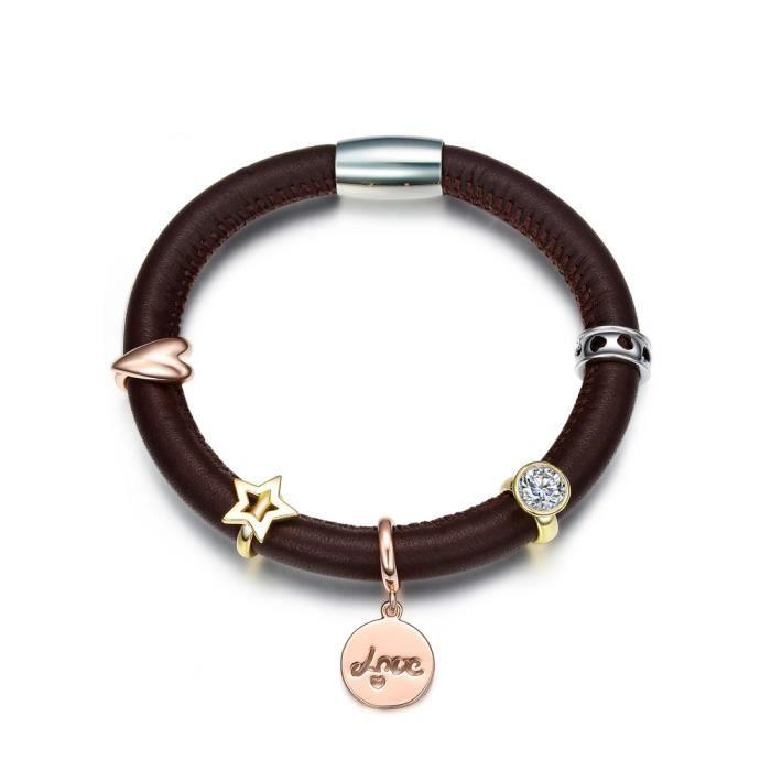 Bracelet Charms en Cuir Marron et Acier Inoxydable - Blue Pearls