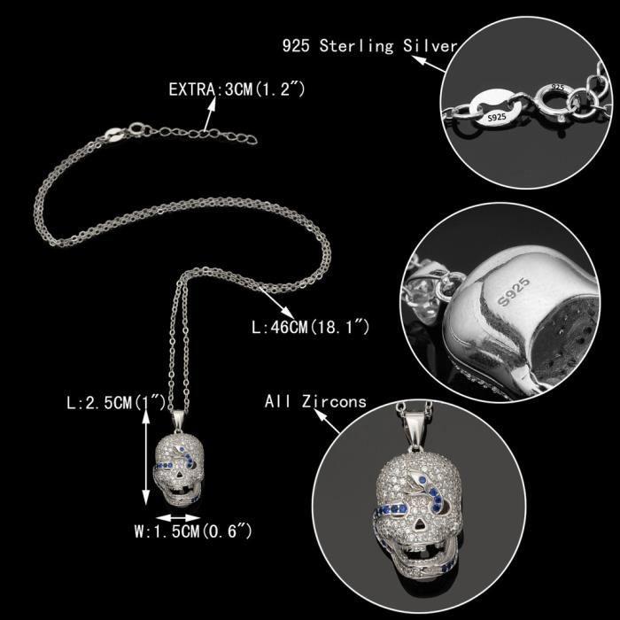 EVER FAITH®-Femme Fille Fantastique Argent 925 Serpent Crâne Gothique Collier Ton dArgent Bleu