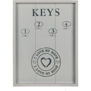 ARMOIRE - BOITE A CLÉ Tableau de clés I LOVE MY HOME en bois - Blanc