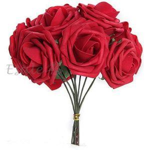 FLEUR ARTIFICIELLE Bouquet 10pcs Fleur Artificiel Roses en Mousse Rou