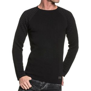 8a6a7cd1ceedd PULL Pull fin homme noir fine maille relief ...