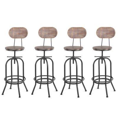 4 De En Réglable Chaises Lot Industriel Bar Style Bois L53R4Aj