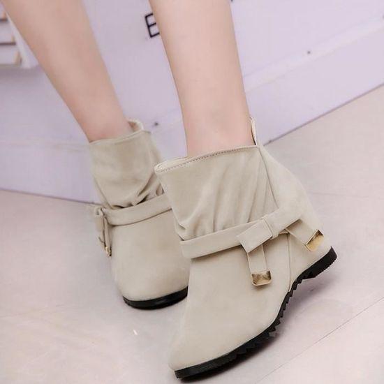 Little Bow Tie Chaussures Skidproof semelle en caoutchouc femme Bottes Bottines Casual qinhig5162 Beige Beige - Achat / Vente botte
