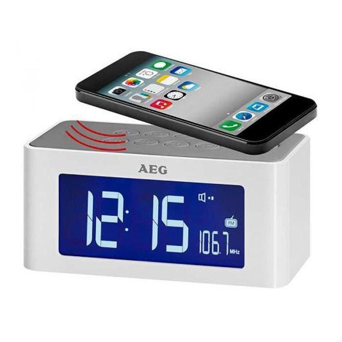 Aeg Clock Radio With Cordless Induction Speaker Mrc 4140 I White