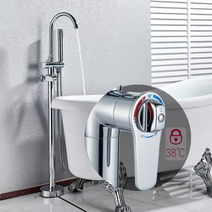 iDeko Robinet de baignoire ilot sur Pied salle de bain douche verticale avec Douchette Noir