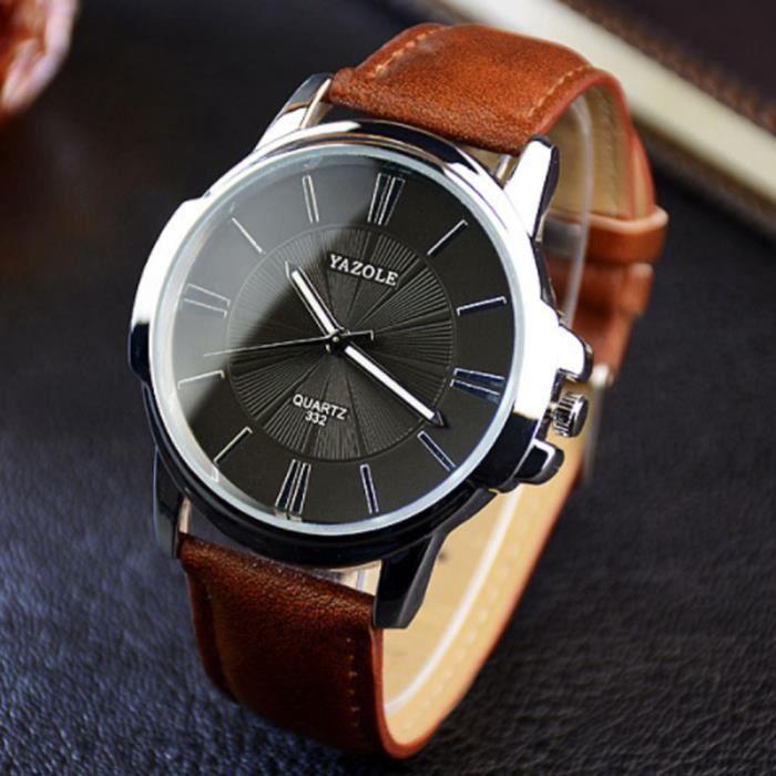 9800f2115f19 Brown+Black-2018 Mode Quartz Montre Hommes Montres Top Marque De Luxe Homme  Horloge Business Hommes Montre-Bracelet